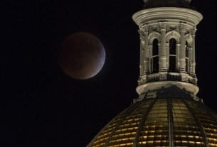 Stargazing in Denver Featured Image: State Capitol and Moon
