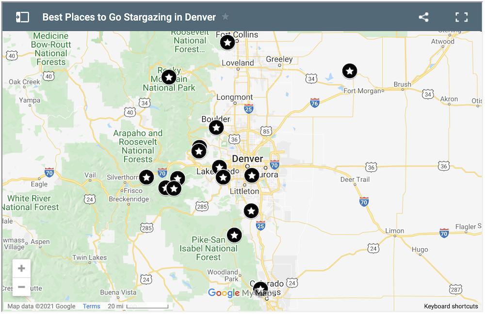 Stargazing in Denver Map