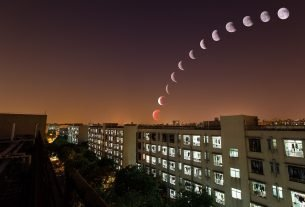 2019 Lunar Eclipse - Lunar Eclipse Over City