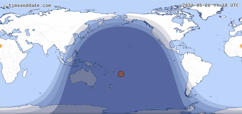 Total Lunar Eclipse 2021 Map