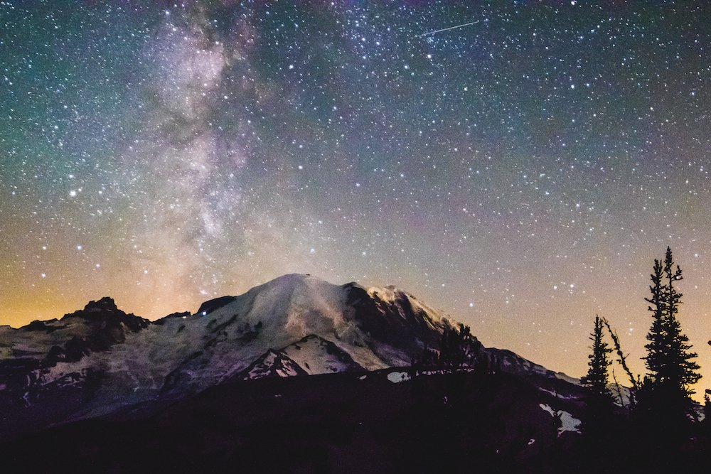 Mount Rainier Stargazing - Milky Way over Mount Rainier