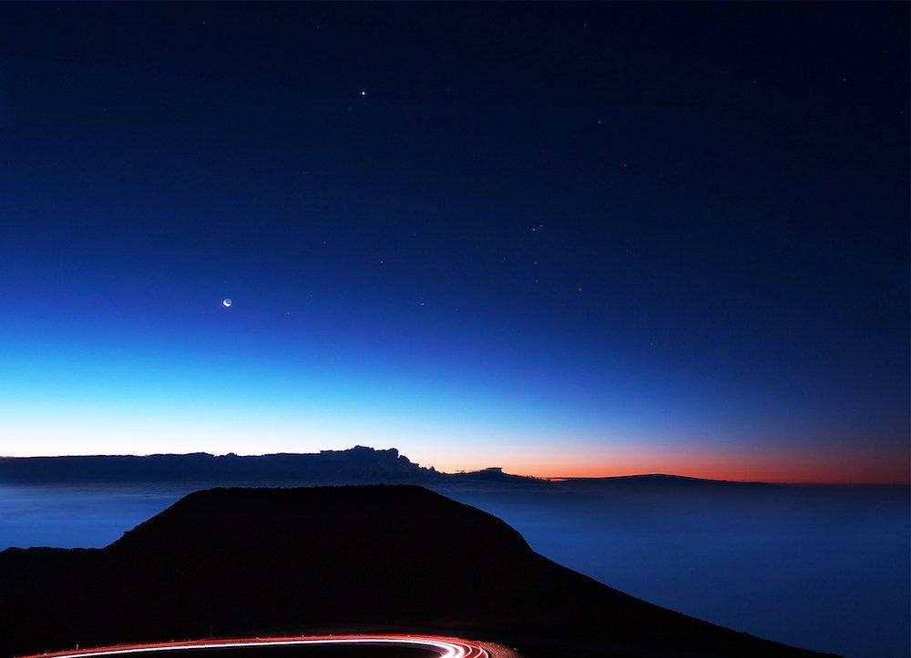 Haleakala Stargazing - Moon and Sunrise - paul bica via Flickr